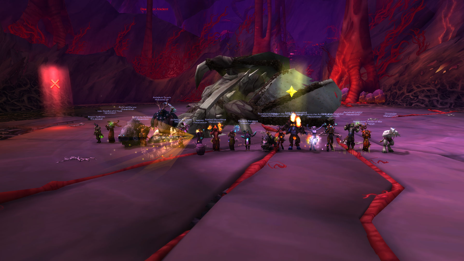 Teamwork and concentration put a bug up Nythendra's..... nose. Fire Mythic 1/7